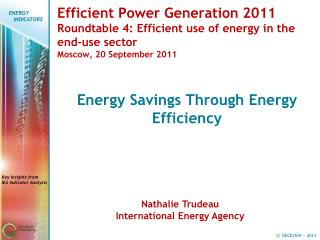 Energy Savings Through Energy Efficiency