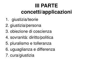 III PARTE concetti/applicazioni