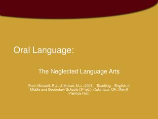 Oral Language: