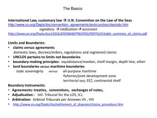 International Law, customary law   U.N. Convention on the Law of the Seas