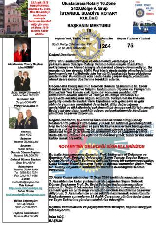 Uluslararası  Rotary 10.Zone   2420.Bölge  9 .  Grup İSTANBUL SUADİYE ROTARY KULÜBÜ