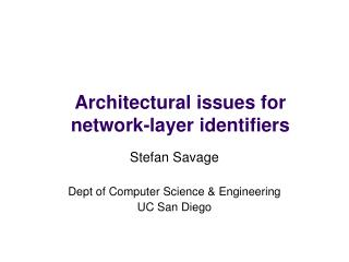 Architectural issues for  network-layer identifiers