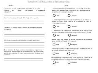 EXAMEN DE INTRODUCCIÓN A LAS CIENCIAS DE LA EDUCACIÓN 2º PARCIAL