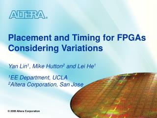 Placement and Timing for FPGAs Considering Variations
