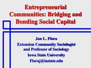 Entrepreneurial Communities: Bridging and Bonding Social Capital
