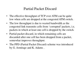 Partial Packet Discard