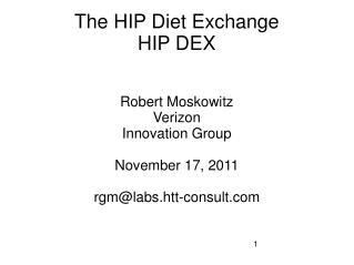 The HIP Diet Exchange HIP DEX