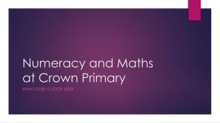 Numeracy and Maths at Crown Primary
