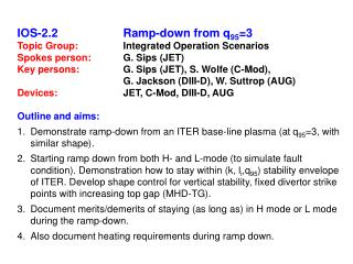 IOS-2.2 Ramp-down from q 95 =3 Topic Group:  		Integrated Operation Scenarios