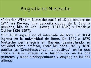 Biograf�a de Nietzsche