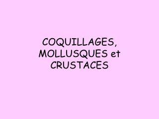 COQUILLAGES, MOLLUSQUES et CRUSTACES