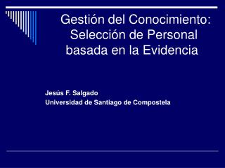 Gestión del Conocimiento:  Selección de Personal basada en la Evidencia