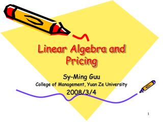 Linear Algebra and Pricing
