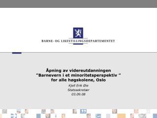 """Åpning av videreutdanningen  """"Barnevern i et minoritetsperspektiv """" for alle høgskolene, Oslo"""