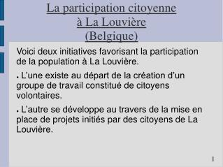 La participation citoyenne  à La Louvière  (Belgique)