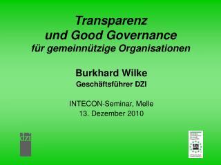 Transparenz  und Good Governance  für gemeinnützige Organisationen