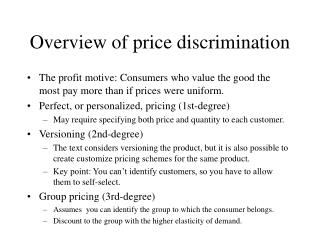 Overview of price discrimination