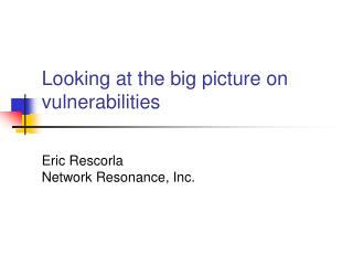 Looking at the big picture on vulnerabilities