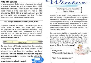 Drs Tang and Amin Newsletter Winter Edition