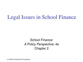 Legal Issues in School Finance