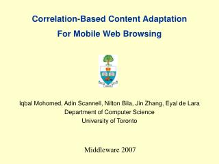 Correlation-Based Content Adaptation  For Mobile Web Browsing