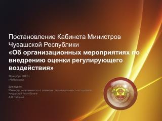 28 ноября 2012 г. г.Чебоксары Докладчик