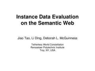Instance Data Evaluation  on the Semantic Web