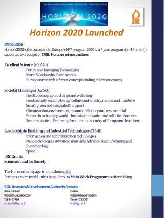 Horizon 2020 Launched