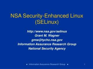 NSA Security-Enhanced Linux (SELinux)