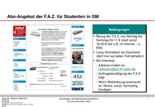 Abo-Angebot der F.A.Z. für Studenten in GM