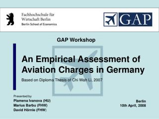 An Empirical Assessment of Aviation Charges in Germany