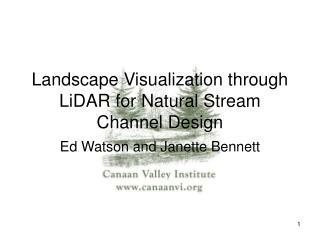 Landscape Visualization through LiDAR for Natural Stream Channel Design
