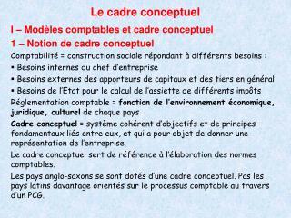 Le cadre conceptuel