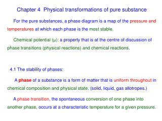 Chapter 4  Physical transformations of pure substance