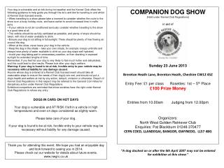 COMPANION DOG SHOW ( Held under Kennel Club Regulations ) in aid of Sunday 23 June 2013