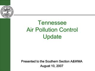 Tennessee Air Pollution Control  Update