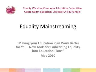 Equality Mainstreaming
