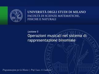 Operazioni musicali nel sistema di rappresentazione binomiale