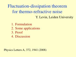 Fluctuation-dissipation theorem for thermo-refractive noise