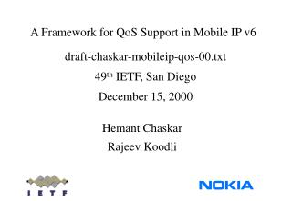 A Framework for QoS Support in Mobile IP v6