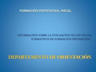 FORMACIÓN PROFESIONAL INICIAL