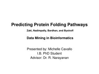 Presented by: Michelle Cavallo I.B. PhD Student Advisor: Dr. R. Narayanan