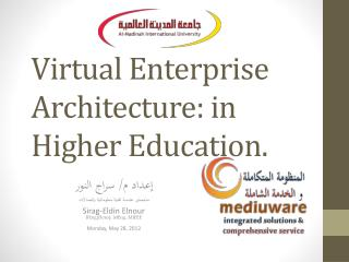 Virtual Enterprise Architecture: in Higher Education.