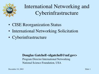 International Networking and Cyberinfrastructure