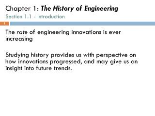 Chapter 1:  The History of Engineering Section 1.1 - Introduction