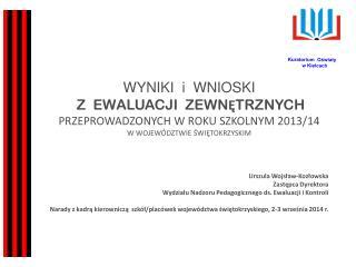Urszula Wojsław-Kozłowska Zastępca Dyrektora