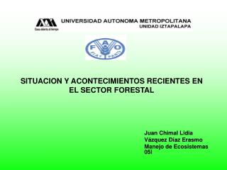 SITUACION Y ACONTECIMIENTOS RECIENTES EN EL SECTOR FORESTAL