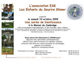 Participation à la soirée : 35€ avant le 4 octRéservation : 06 85 83 42 57