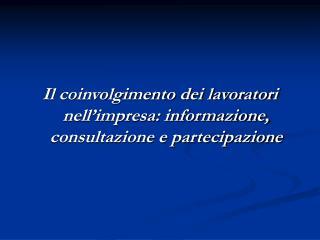 Il coinvolgimento dei lavoratori nell'impresa: informazione, consultazione e partecipazione