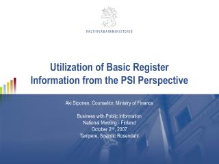 Utilization of Basic Register Information from the PSI Perspective